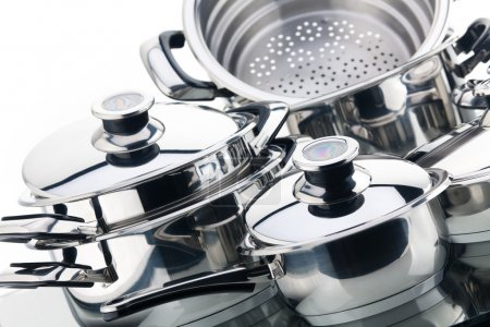A set of saucepans, stainless steel