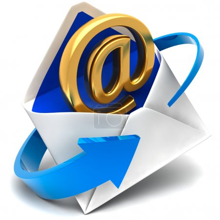 Photo for Golden symbol of e-mail comes out of the mail envelope - Royalty Free Image