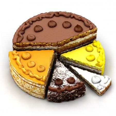 Photo for The metaphor of the market, divided by the tidbits in the form of various pieces of cake - Royalty Free Image