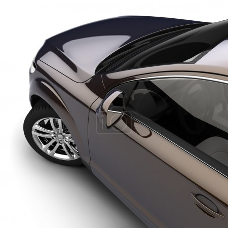 Photo for Dynamic view of the modern car from the driver's door, just above, on a white background - Royalty Free Image