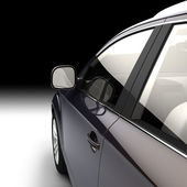 Dynamic view of the modern car from the driver's door