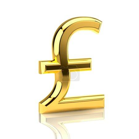 Golden pound sign on white