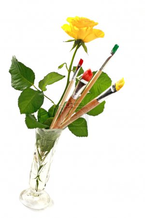 Rose and paintbrushes
