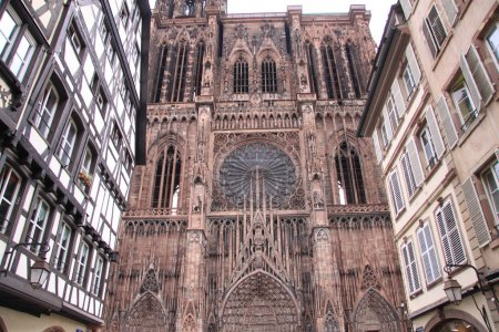 Facade of Strasbourg cathedral in Alsace, France...