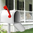 Image of white mail box in front of the house...
