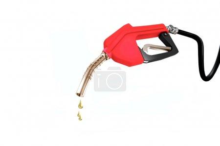 Photo pour Image de la buse de pompe à carburant avec huile déversée - image libre de droit