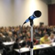Image of microphone during seminar in a hall...