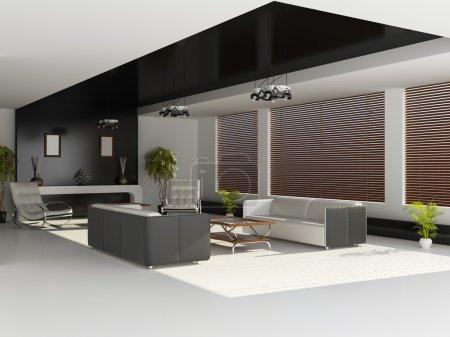 Foto de Interior moderno de un salón (renderizado 3d) - Imagen libre de derechos