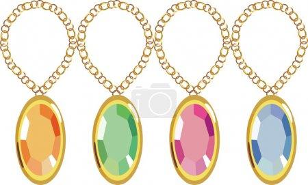 Precious stones set in gold