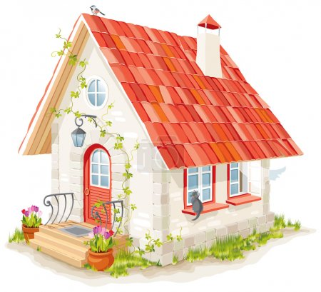 Illustration for Little fairy house with a tiled roof - Royalty Free Image