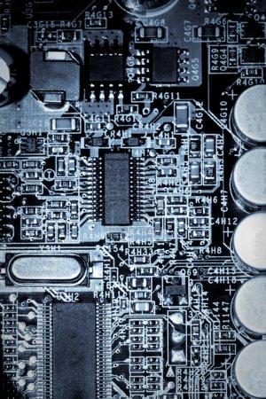 Closeup blue toned circuit