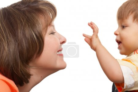 Photo for Mother playing with her son on white background - Royalty Free Image