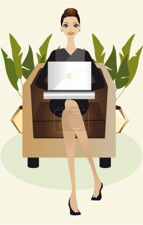 Illustration pour Jeune femme travaillant sur son ordinateur portable ou surfant sur internet confortablement assise sur son canapé au bureau ou chez elle. - image libre de droit