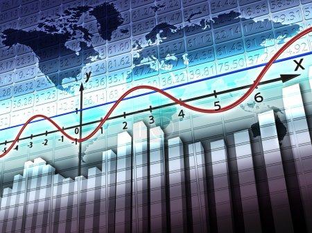 Photo pour Illustration représentant le calendrier avec une ligne rouge montrant l'équilibre mondial - image libre de droit