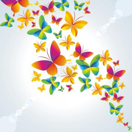 Illustration pour Fond coloré avec papillon . - image libre de droit