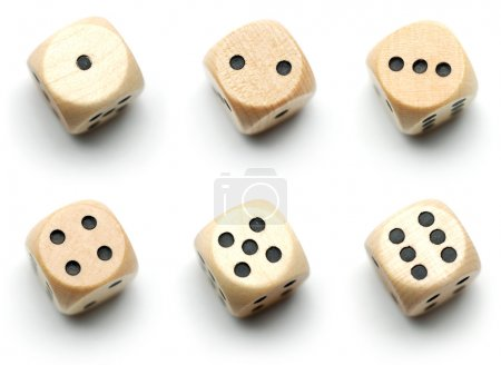 Wooden dice, all numbers