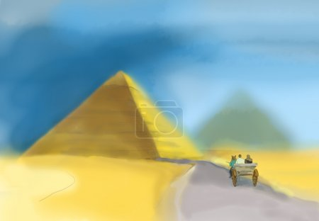 Watercolor of a pyramid in Giza