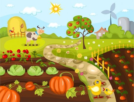 Illustration for Vector illustration of a harvest card - Royalty Free Image