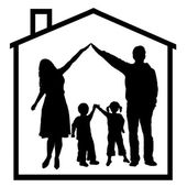 Family in dream house silhouette isolated on white