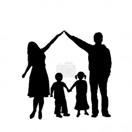 Illustration pour Silhouette familiale soignée isolée sur blanc - image libre de droit
