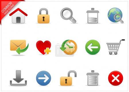 Photo pour Un ensemble d'icônes web couleur avec ombre lumineuse - image libre de droit