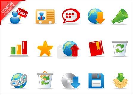 Photo pour Un ensemble d'icônes web couleur avec une ombre légère - image libre de droit