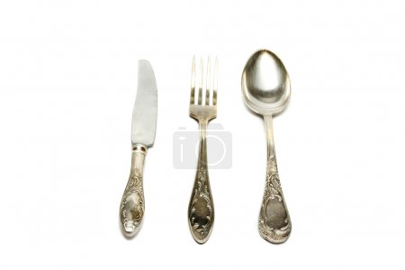 Photo for Spoon, knife and fork isolated on white background - Royalty Free Image