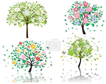 Photo pour Ensemble de beaux arbres d'été avec des fleurs en fleurs - image libre de droit