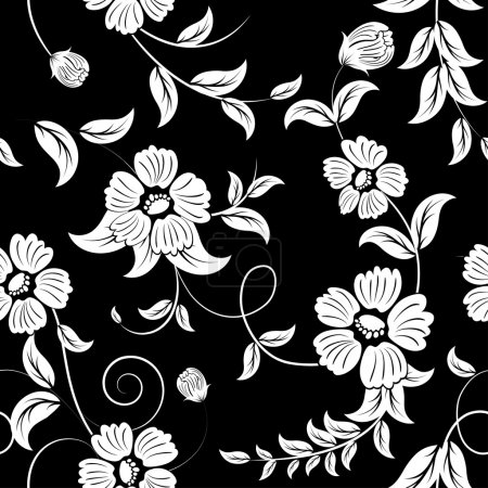 Illustration for Seamless vector floral background. For easy making seamless pattern just drag all group into swatches bar, and use it for filling any contours. - Royalty Free Image