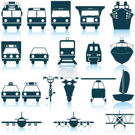 Illustration for Transportation set of different vector web icons - Royalty Free Image