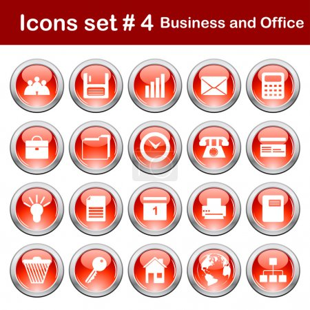 Illustration for Business and office set of different vector web icons - Royalty Free Image