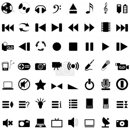 Illustration for Vector collection of different music themes icons - Royalty Free Image