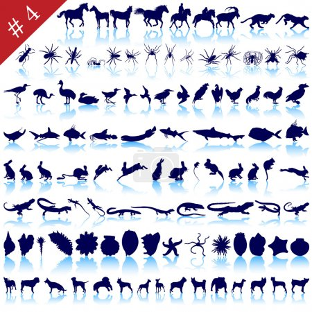 Illustration for Set of different animals, birds, insects and fishes vector silhouettes - Royalty Free Image