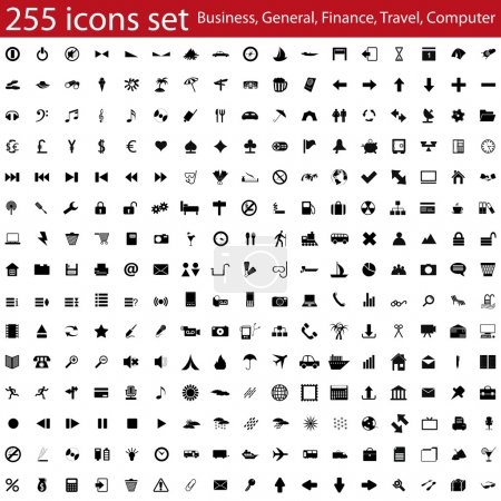 Illustration for Biggest collection of different vector icons for using in web design - Royalty Free Image