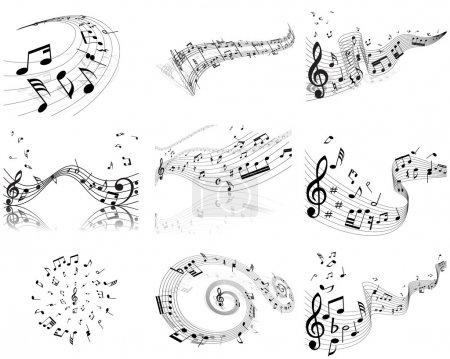 Illustration pour Notes de musique vectorielles fonds de portée réglés pour un usage de conception - image libre de droit