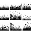 Vector grass silhouettes backgrounds set. All obje...
