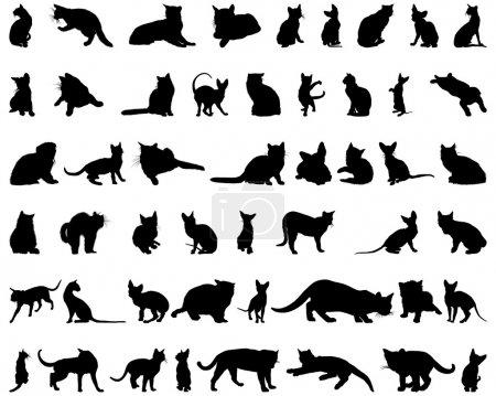 Illustration pour Jeu des silhouettes de chats différents vecteur pour utilisation de conception - image libre de droit