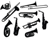 Set of different vector silhouettes wind instruments
