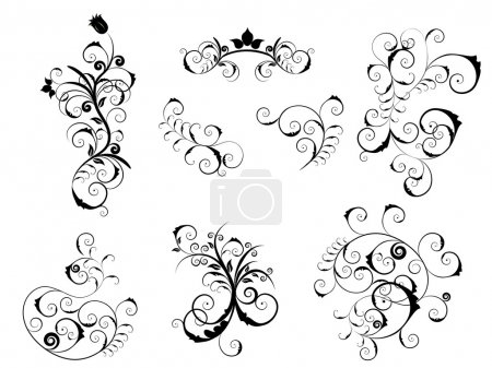 Illustration for Set of different vector elements for floral or victorian style design - Royalty Free Image