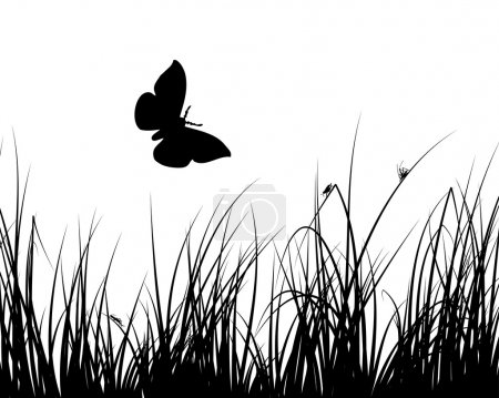 Illustration for Vector grass silhouettes backgrounds with insects - Royalty Free Image