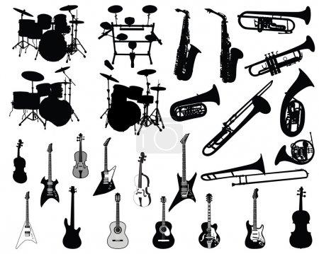 Illustration pour Ensemble de différents instruments à cordes, à vent et à percussion - image libre de droit