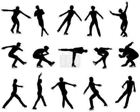 Mans figure skating silhouette set