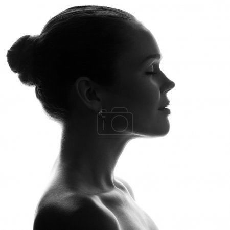 Photo for Silhouette of pretty woman with pretty profile - Royalty Free Image