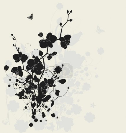 Illustration for Floral design with orchids - Royalty Free Image
