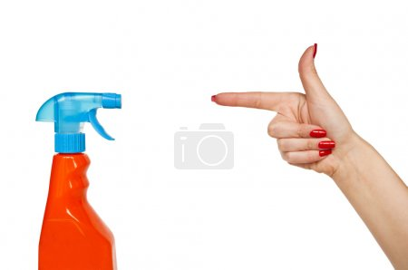 Female hand pointing to spray- cleaning - concept