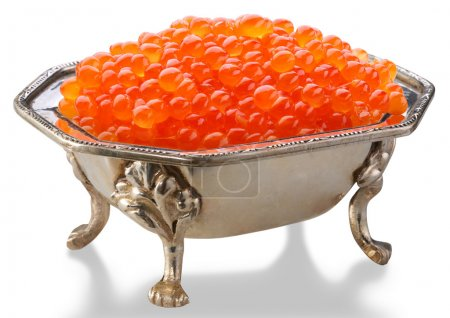 Red caviar is in a silver bowl
