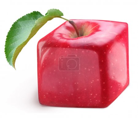 Photo for Cube apple on a white background. - Royalty Free Image
