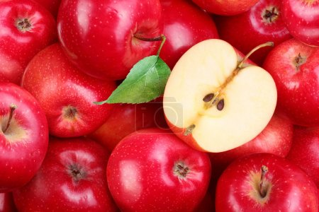 Photo for Red apples with leaf - Royalty Free Image