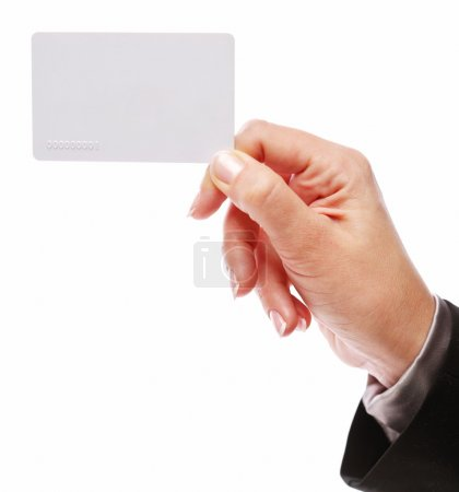 Credit card in the hand of woman.