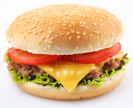 Cheeseburger on a white background...